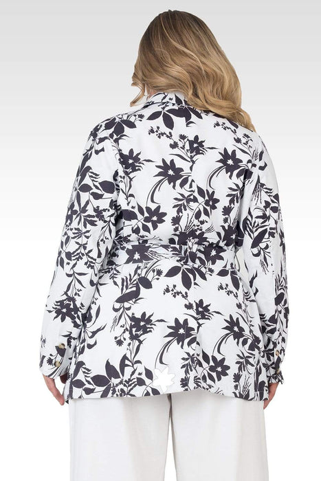 Standards & Practices Plus Size Midge Black & White Floral Print Wrap Blazer