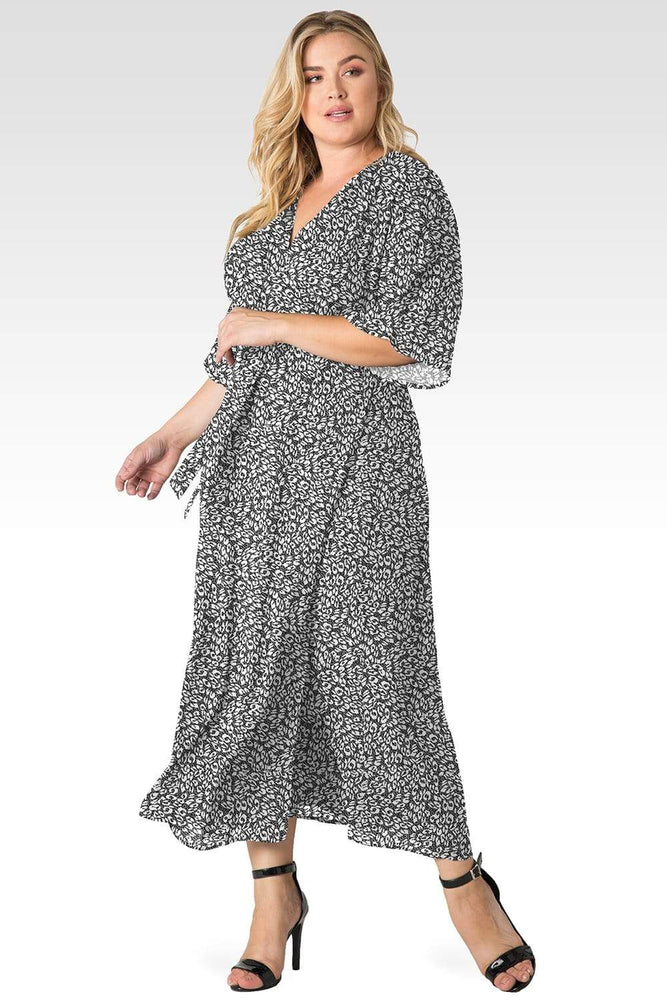 Standards & Practices Plus Size Olivia Smoke Leopard Print Kimono Wrap Maxi Dress