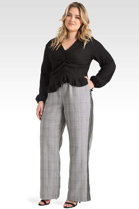 Standards & Practices Plus Size Rowan Plaid Wide Leg Suiting Pants with Black Lace Tuxedo Stripe