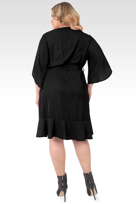 Standards & Practices Plus Size Serena Kimono Sleeve Ruffled Knee Length Wrap Dress - Black