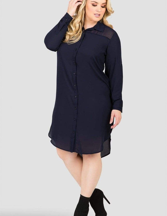 Standards & Practices Solenn Midnight Blue Shirt Dress