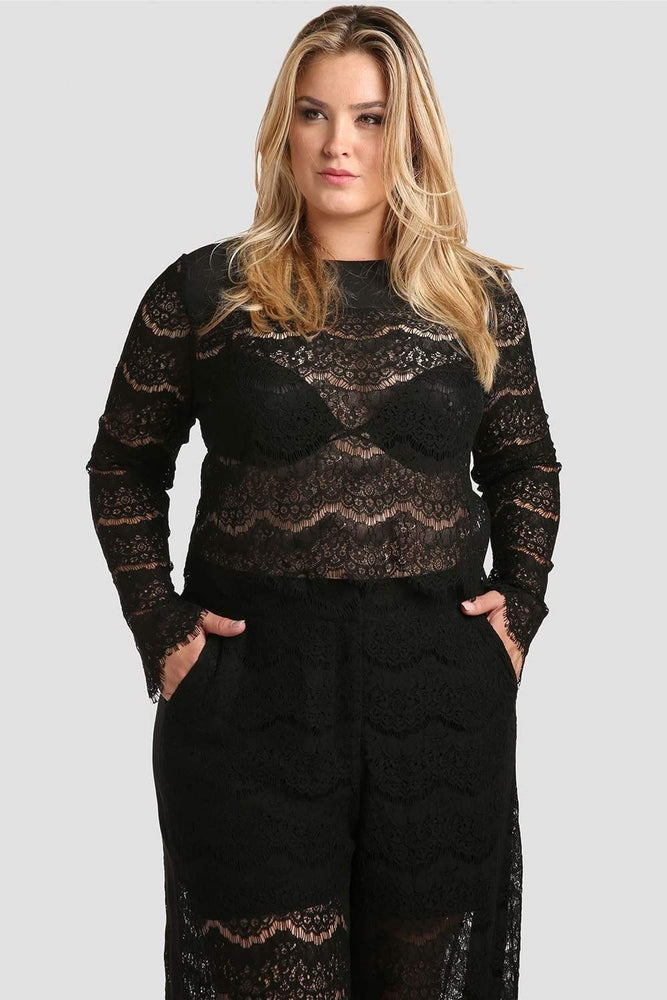 Standards & Practices Sydney Black Lace Crop Top