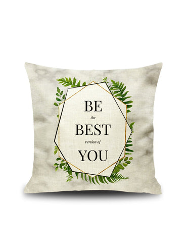 Plant & Letter Print Pillowcase Cover 1pc