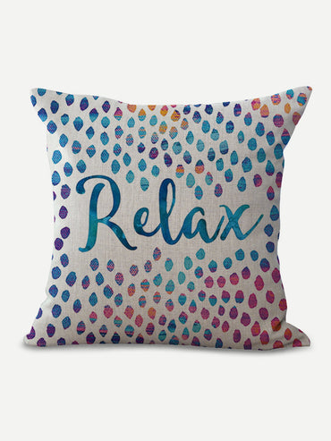 Letter & Dot Print Pillow Cover