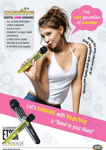 Brand New Magic Sing ET25K SPANISH Karaoke Mic Videoke Color Yellow Green