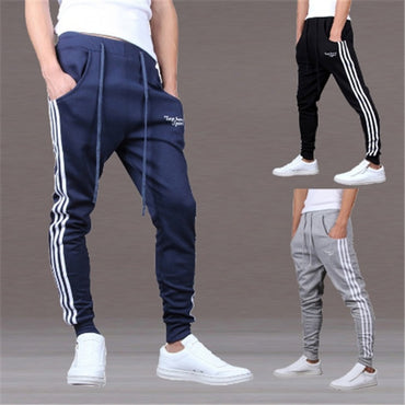Cool Design Men's Fashion Sport Striped Mid Waist Cotton Loose Mens Pants Trousers,pantalon, Sweatpants, Hose, Jogging Hose