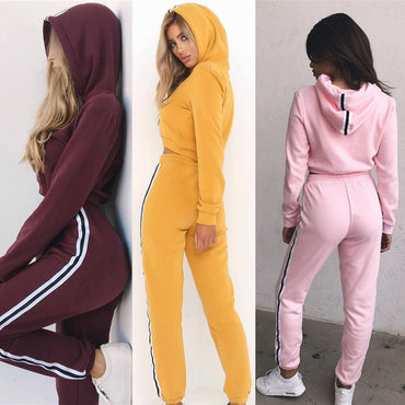Fashion Autumn and Winter Women's Sport Suit Cotton Hooded Pullover Sweatshirts Sportwear Top + Pants