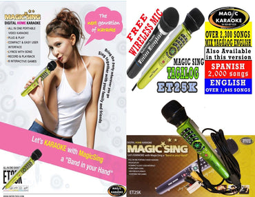 WM-2017 MAGIC SING KARAOKE MIC ET25KN PINOY-FREE WIRELESS DUET