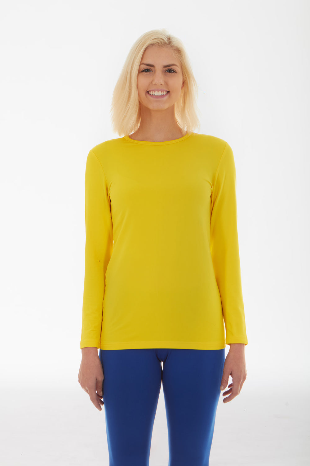 Women's Crew Neck Thermal Yellow Shirt