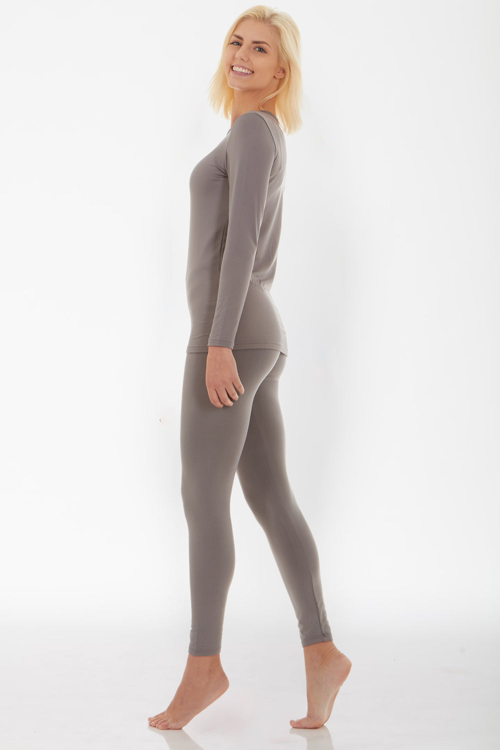 Women's Grey Thermal Underwear Set