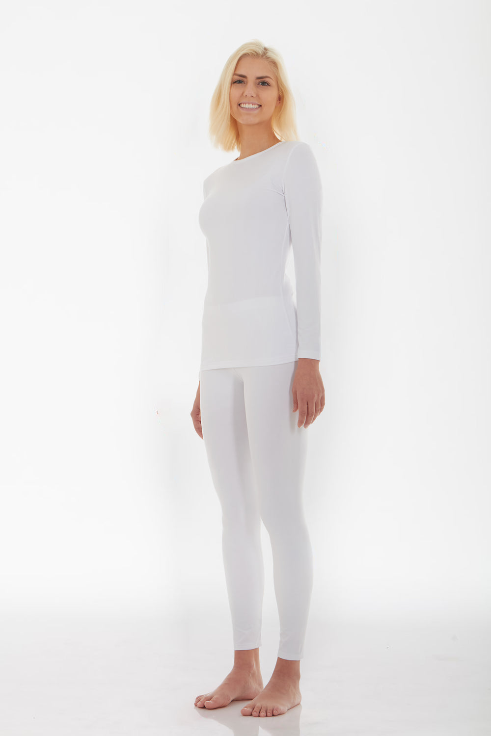 Women's White Thermal Underwear Set