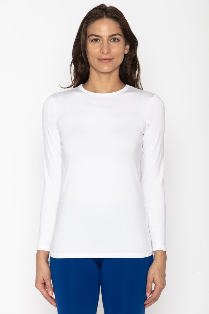 Women's Crew Neck Thermal White Shirt