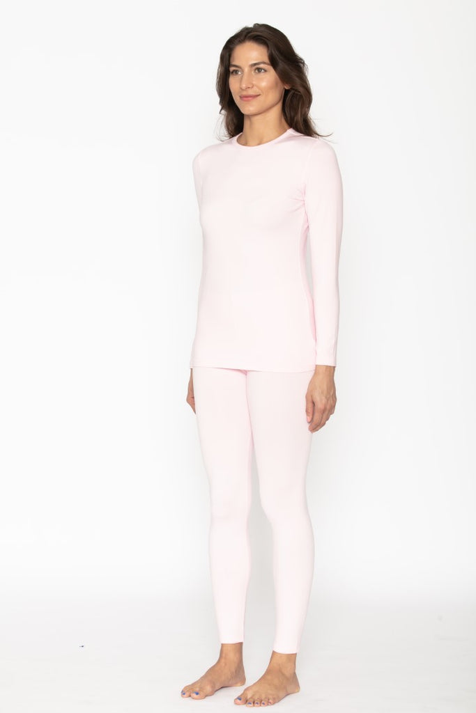 Women's Baby Pink Thermal Underwear Set