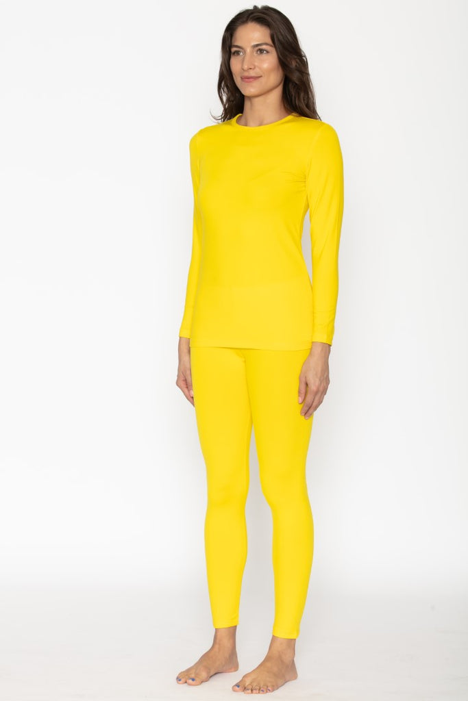 Women's Yellow Thermal Underwear Set