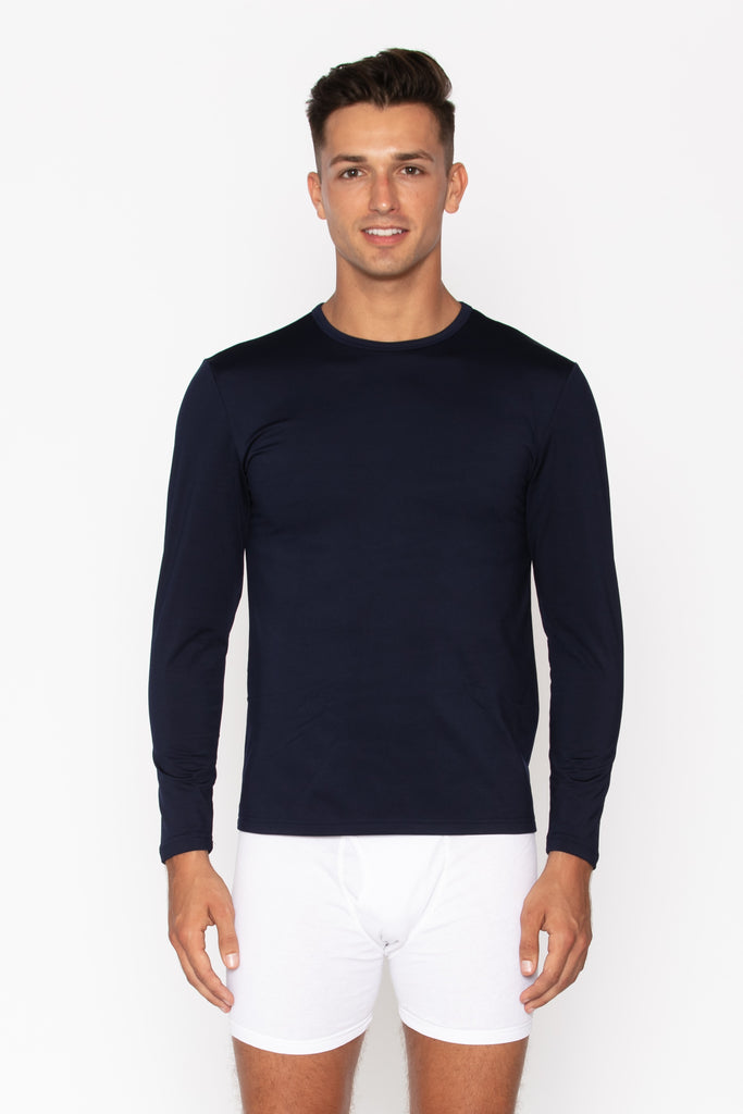 Men's Navy Crew Neck Thermal Shirt