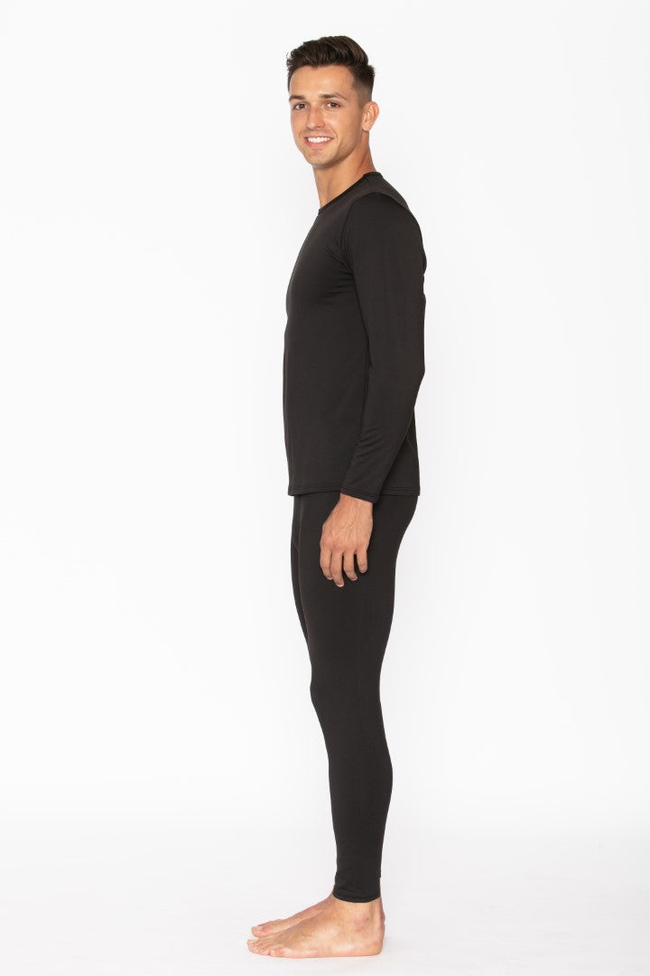 Black Men's Thermal Underwear Set
