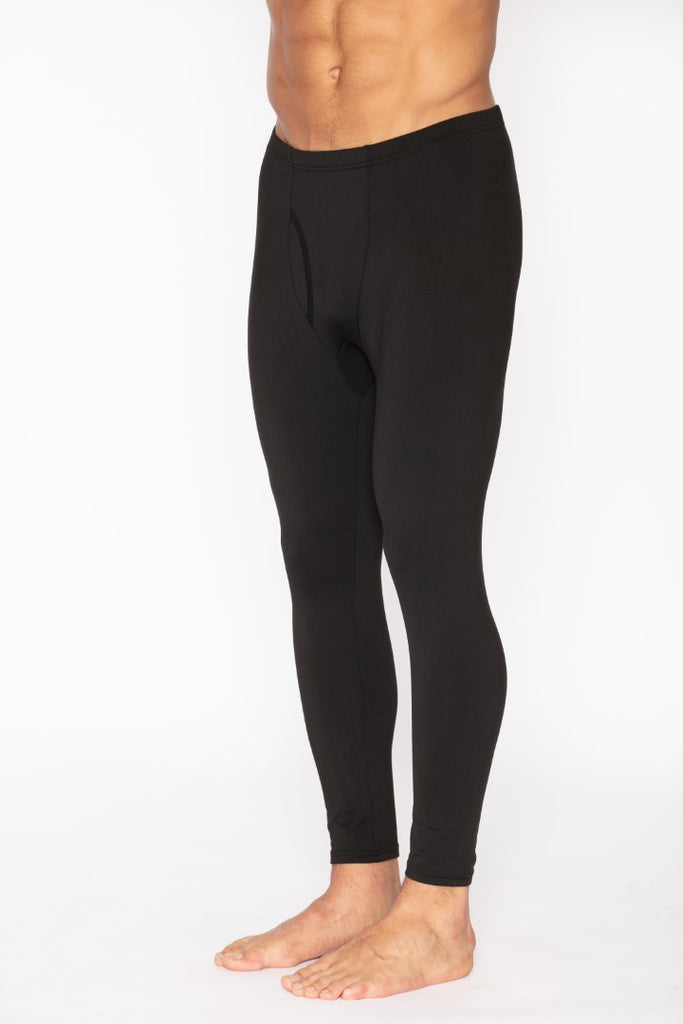 Men's Black Thermal Long John Pants