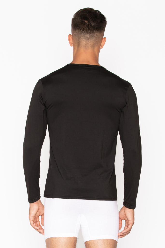 Black Crew Neck Men's Thermal Shirt