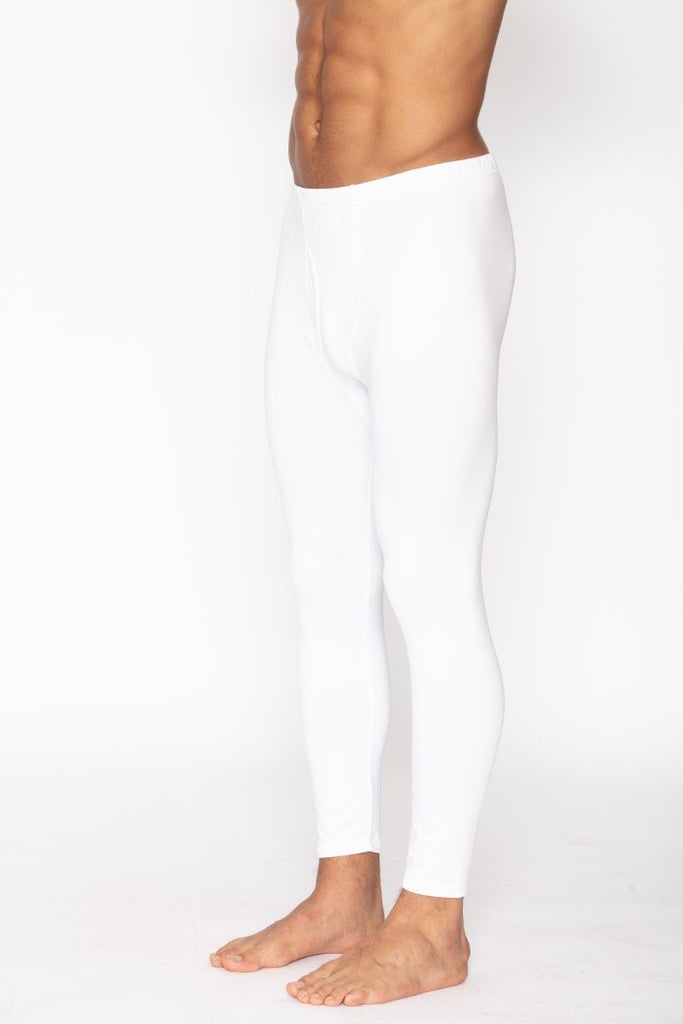 Men's White Thermal Long John Pants