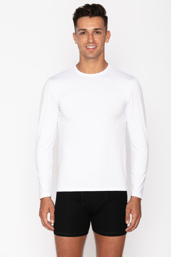Men's White Crew Neck Thermal Shirt