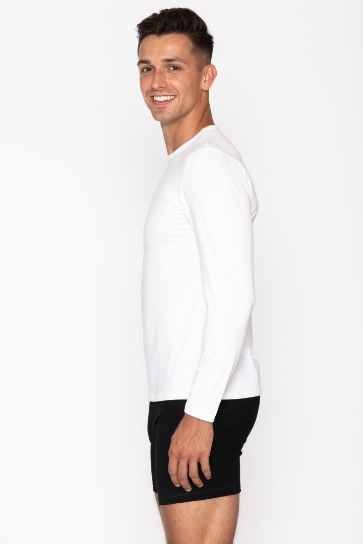 White Crew Neck Thermal Shirt for Men's