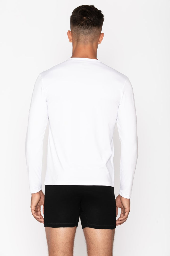 White Crew Neck Men's Thermal Shirt