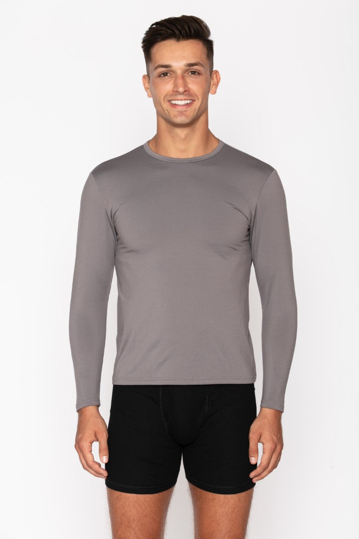 Men's Grey Crew Neck Thermal Shirt
