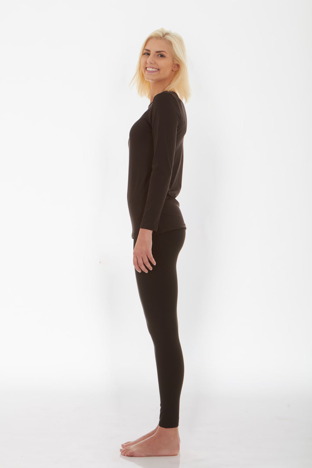 Women's Black Thermal Underwear Set