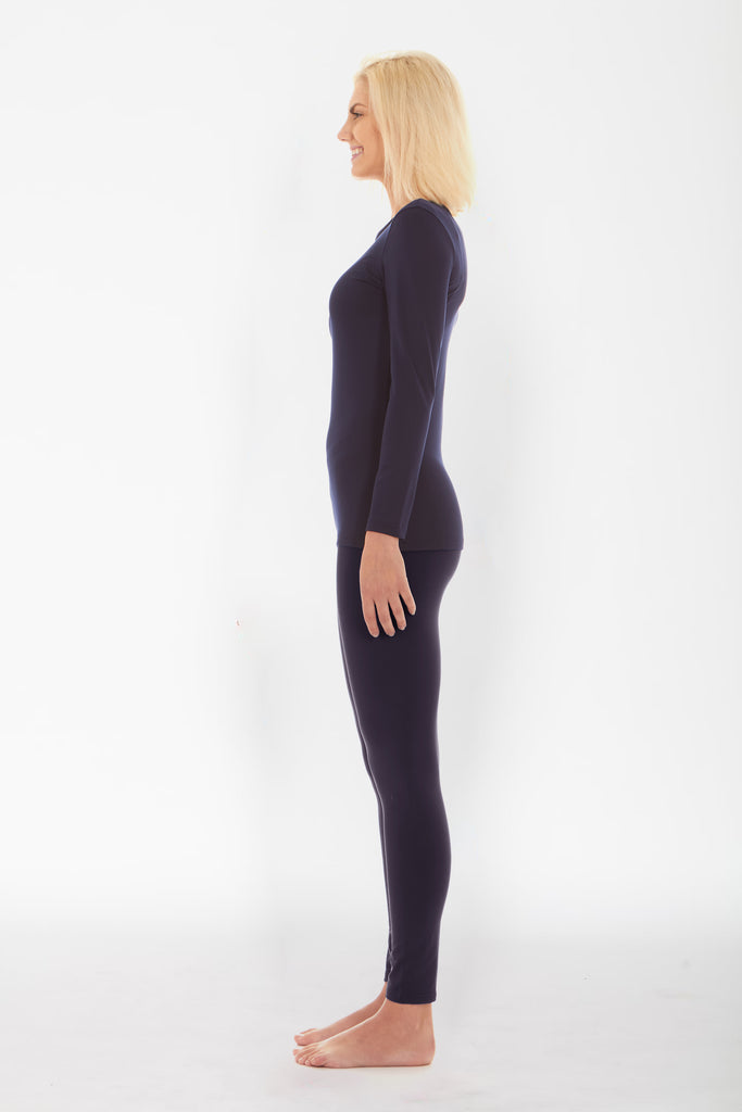Women's Navy Thermal Underwear Set