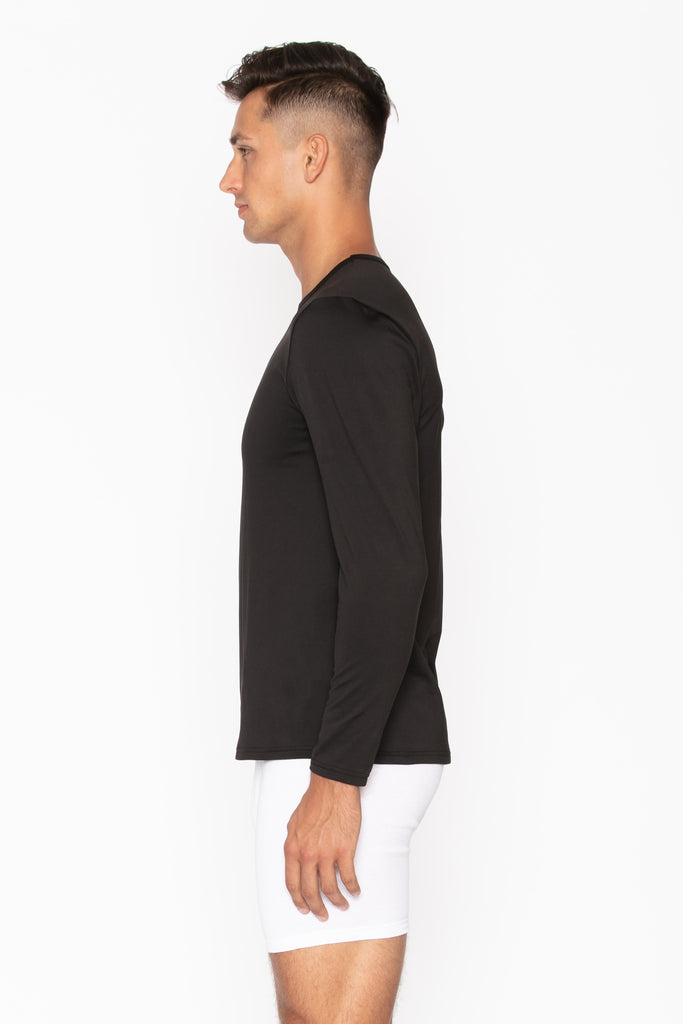 Black Crew Neck Thermal Shirt for Men's