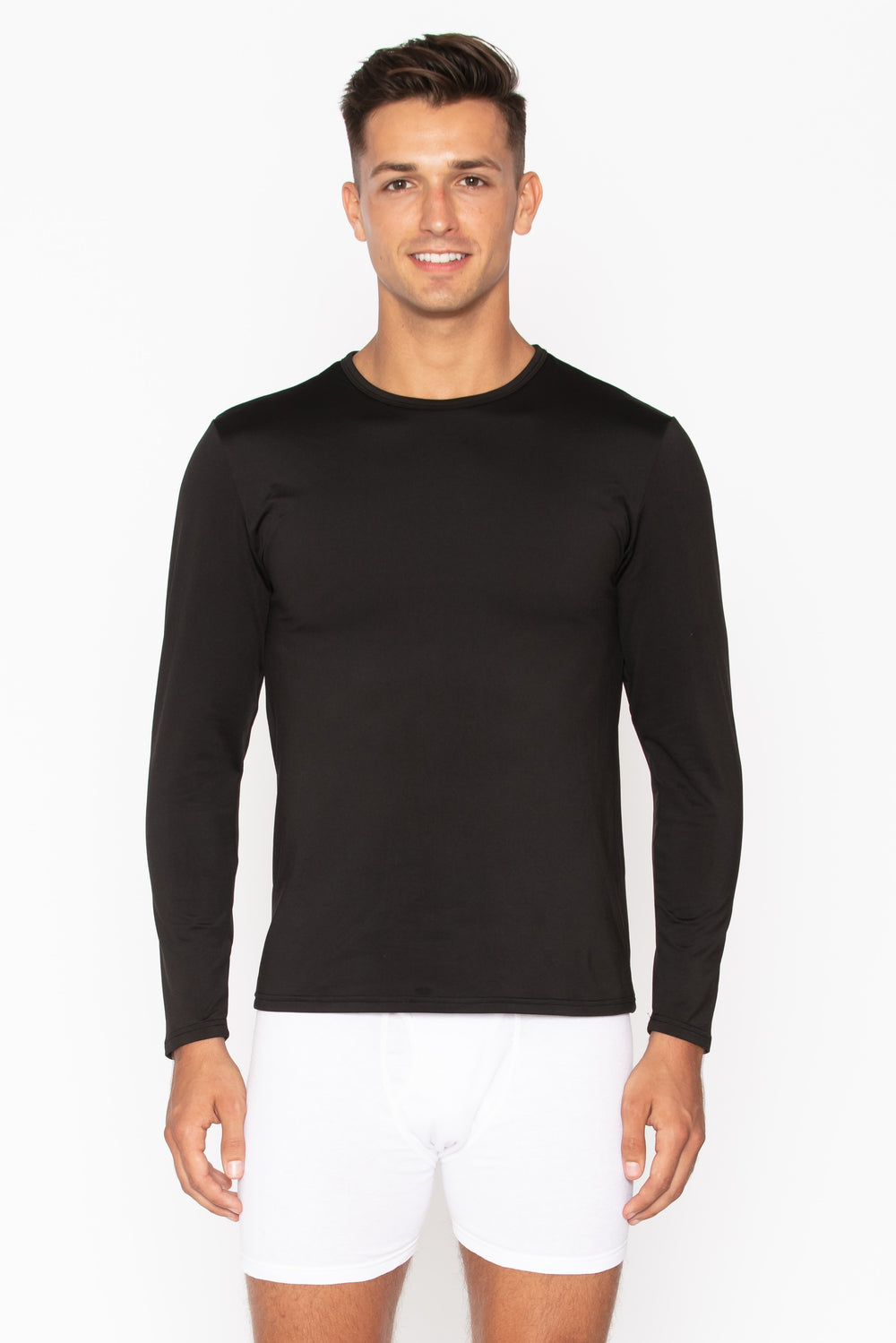 Men's Black Crew Neck Thermal Shirt