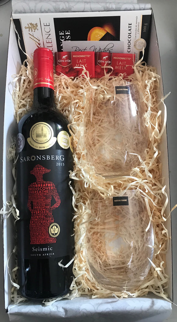 Red Wine & Stemless Glasses Gift Hamper (Saronsberg)