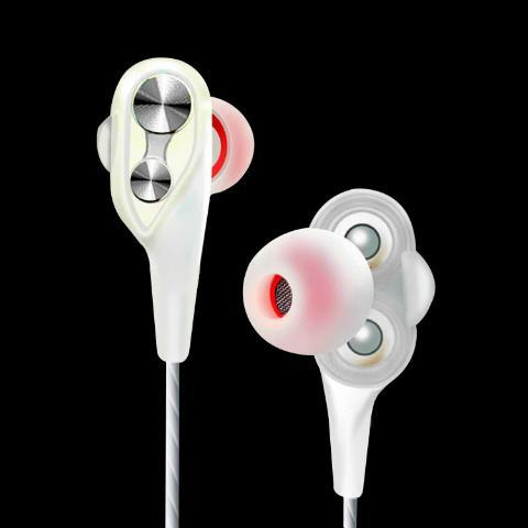 PTron Boom 2 4D Earphone Deep Bass Stereo Wired Headphone For All Smartphones (White/Silver)