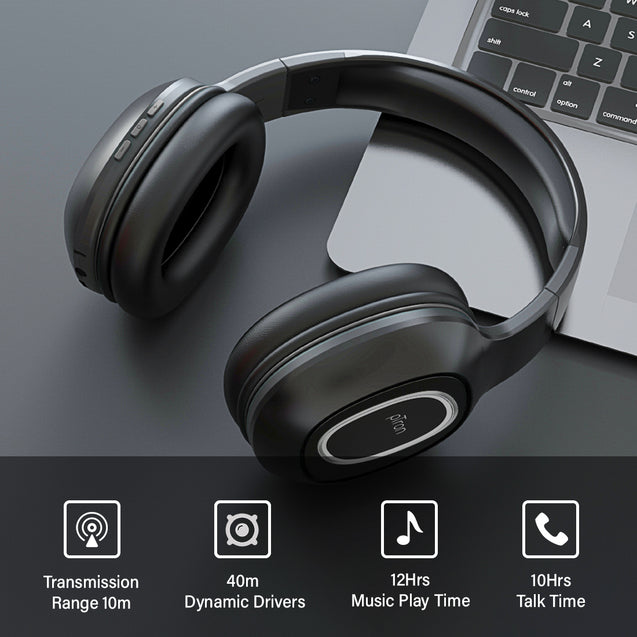 pTron Soundster Lite Over-Ear Bluetooth Headphones with High Bass & 12Hrs Playback Time - Black