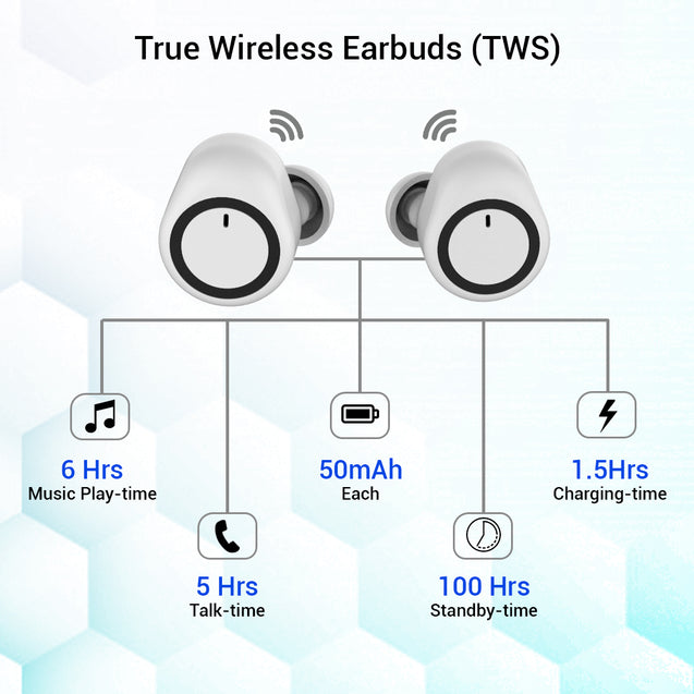 Refurbished - pTron Bassbuds True Wireless Stereo Bluetooth Earbuds (TWS) with Mic - (White)