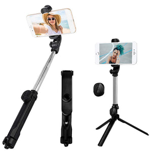 pTron Glam Bluetooth Selfie Stick with Tripod Stand,360 Degree Rotation, Replaceable Battery (Black)