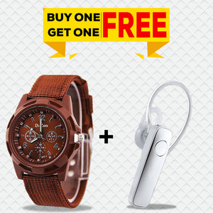 Buy Xmate Genie Mini Bluetooth Earphone, Get DaZon Valor Army Wrist Watch for Men Free