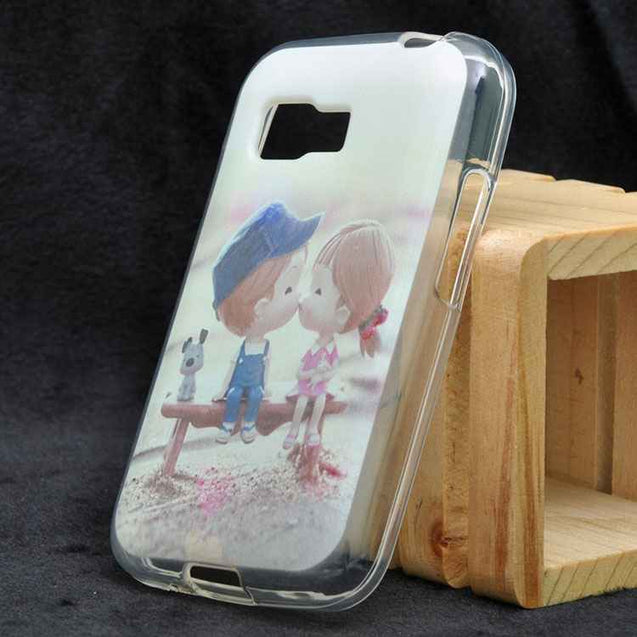 Samsung Galaxy Young 2 G130 Background With Cream Girl Boy kissing Soft Back Cover Case