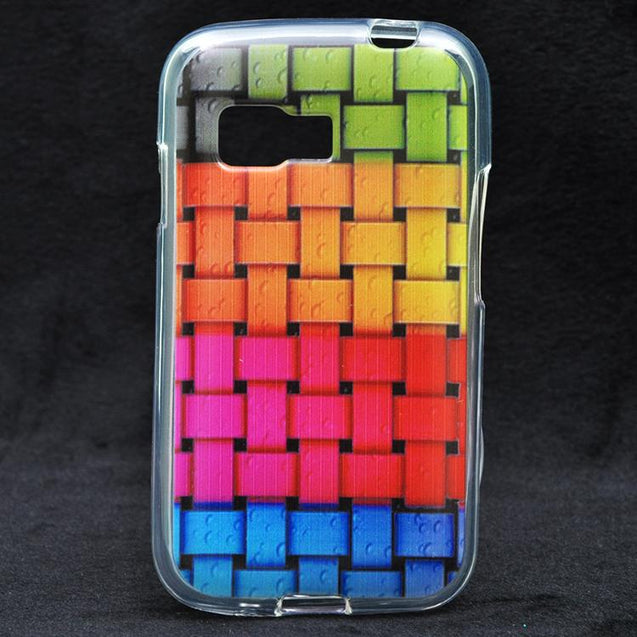 Samsung Galaxy Young 2 G130 multi color water marks on zig zack pattern Soft Back Cover Case