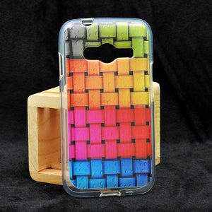 Samsung Ace NXT G313H multi color water marks on zig zack pattern Soft Back Cover Case