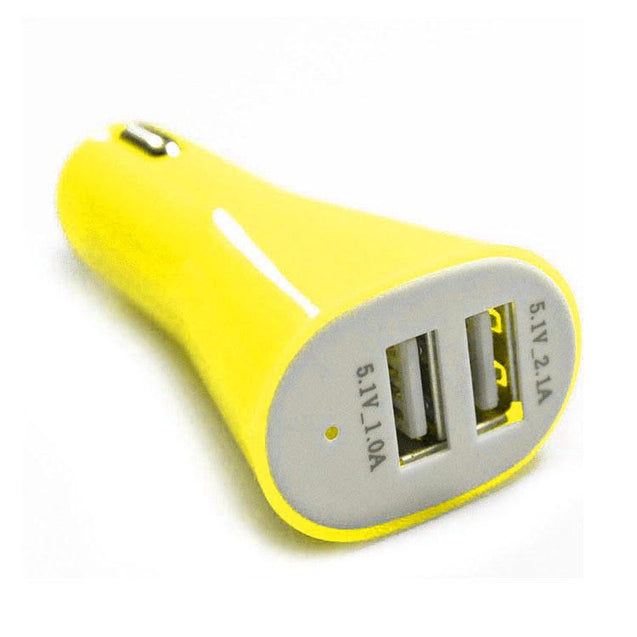 Universal Dual USB Car Charger Adapter Plug for Mobile Phones Tablet MP3 MP4 5V 2A Yellow
