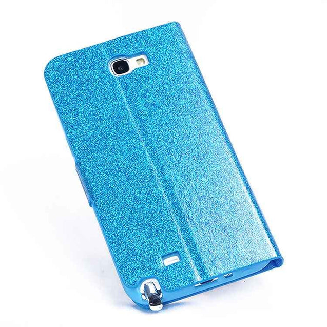 Samsung Galaxy Note 2 N7100 Shiny Luxury Flip Wallet Case with Diamond Magnetic Flip Button(Blue)
