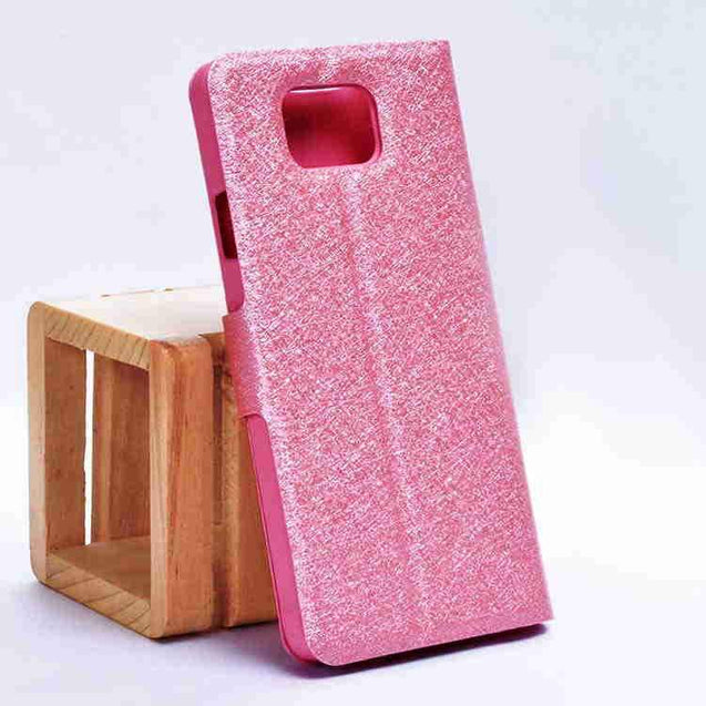 Samsung Galaxy Alpha G850F Sparkle Leather My Case Magnetic Flip Cover Light Pink