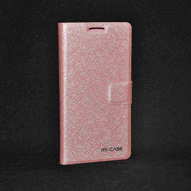 Samsung Galaxy A3 Flip cover with Shiny Leather Flip Case Pink