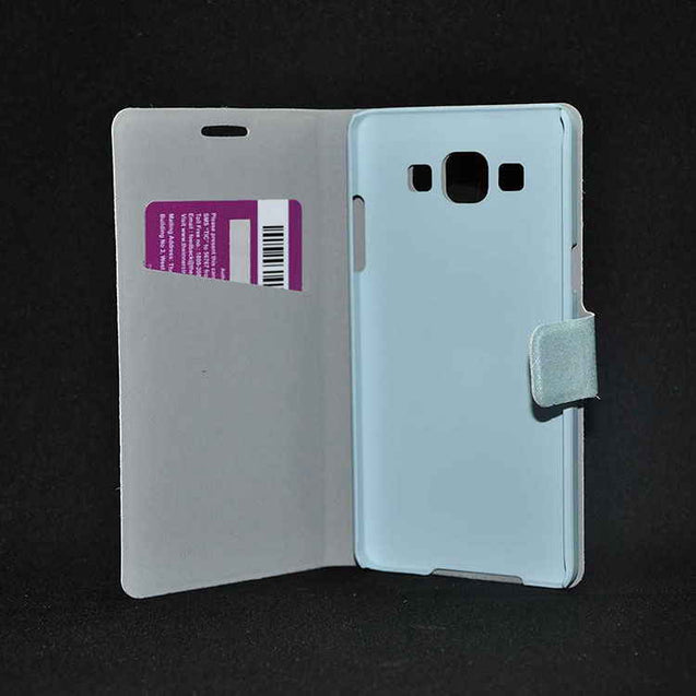 Samsung Galaxy A3 Flip cover with Shiny Leather Flip Case Sky Blue