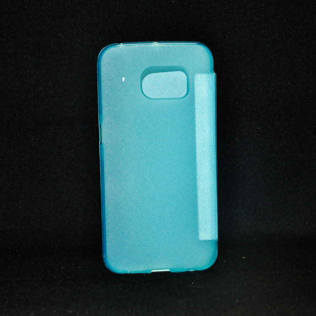 Samsung Galaxy S6 G920 Premium Shiny Flip Cover Skyblue