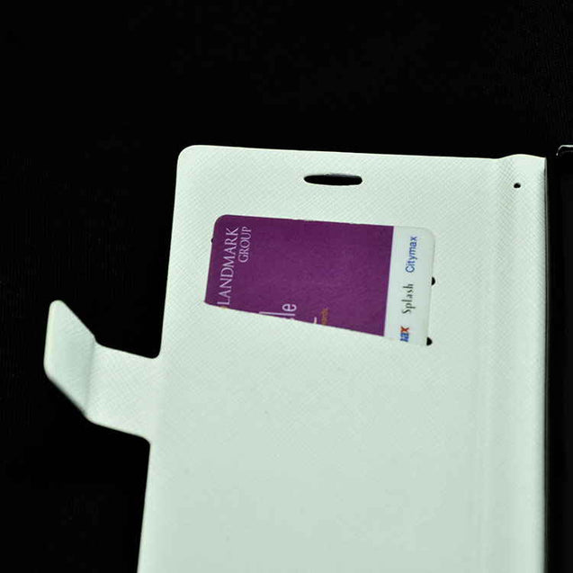 Sony Xperia E3 Flip Cover Wallet Case Designed with Black Lines White