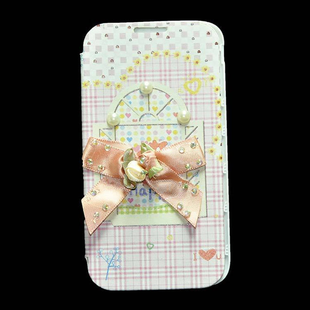 Samsung Galaxy Note 3 Neo N7505 Flip Cover Fancy 3D Flower Pearl Fashion Windows Design Case Pink