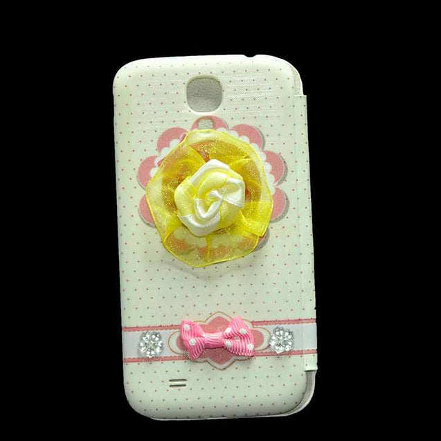Samsung Galaxy S4 i9500 Flip Cover Fancy 3D Smiley Fashion Teddy Design Luxury Flip Case Pink