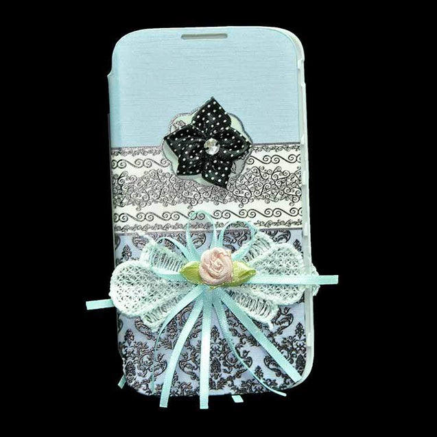 Samsung Galaxy S4 i9500 Flip Cover Ethnic 3D Flower Fashion Design Luxury Flip Case Sky Blue